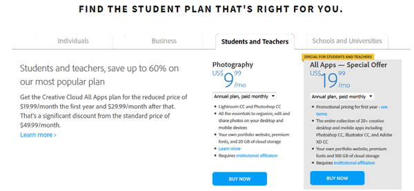 Plans and pricing of Adobe Creative Cloud for students