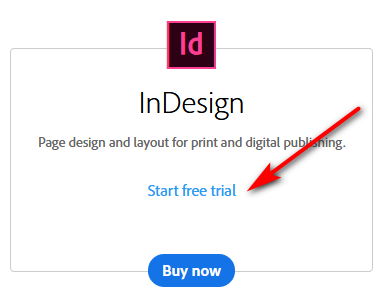 Downloading InDesign free trial