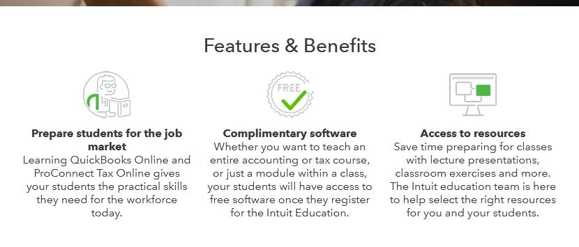 Features of QuickBooks for students
