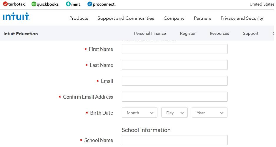 Form for QuickBooks for students
