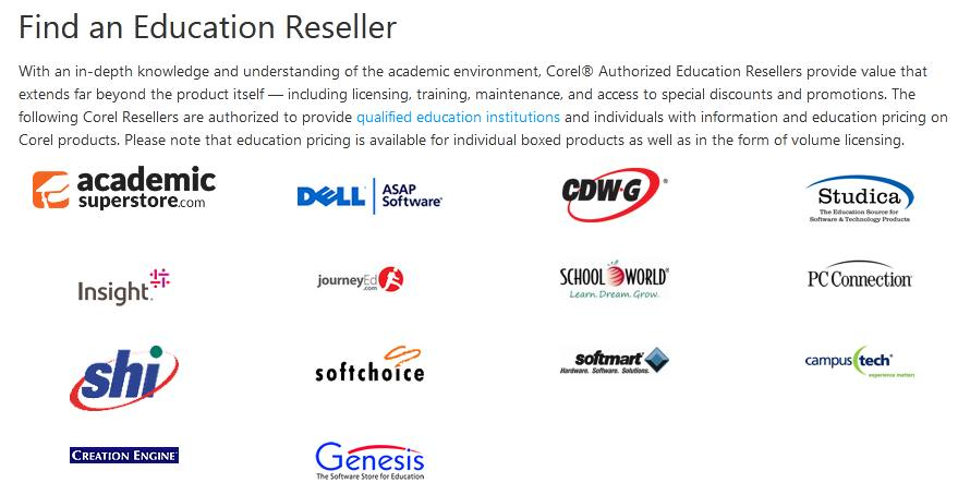 CorelDraw Education resellers