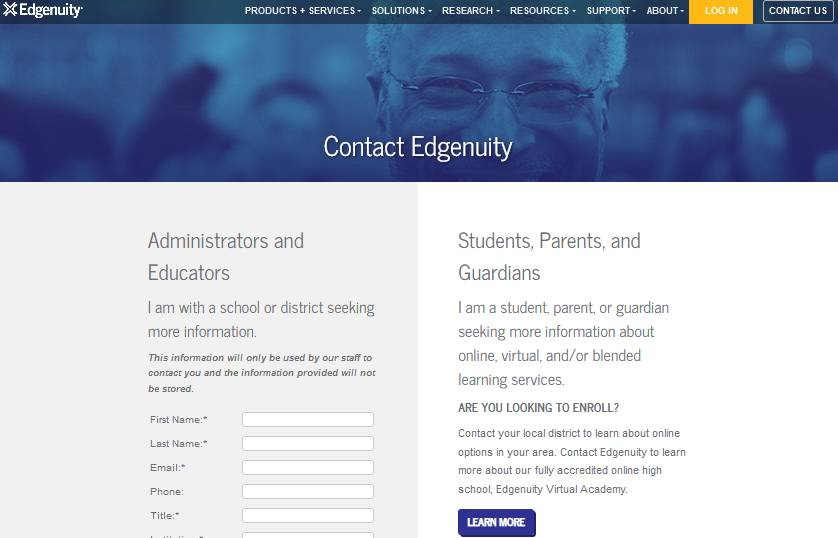 Edgenuity for students: Contact form