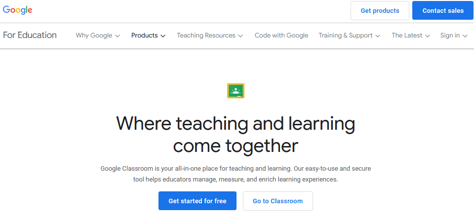 Google Classroom for students: Homepage