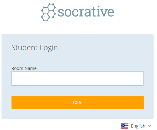 Socrative login page for students